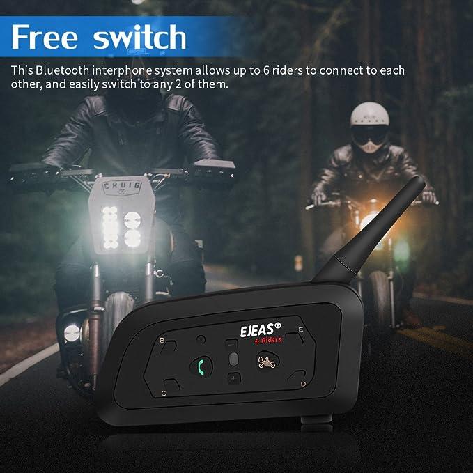 EJEAS V6 Pro 1200M Intercomunicador Bluetooth para casco de motocicleta Auriculares Interphone para Árbitro 6 Usuarios: Amazon.es: Coche y moto