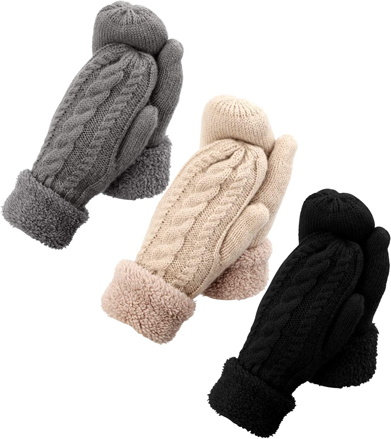 3 Pairs Winter Wool Mitten Gloves For Women,Wool Knit Thick Gloves With Thick Fleece Lining Gift: Clothing