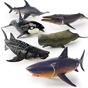 "Winsenpro Jumbo Shark Toys,6 Pack 10"" Realistic Shark Whale Figures with Moveable Jaw Bath Toys Set for Boys,Girls,Kids Birthday Party Favors (6pcs Large Shark Toys)"
