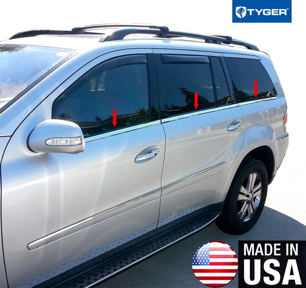 Made In USA! Works With 2007-2012 Mercedes Benz GL320 GL350 GL450 GL550 6Pc Window Sill Trim Overlay MaxMate
