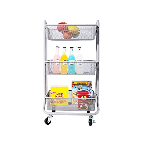 bfc335baa754 DESIGNA 3-Tier Metal Mesh Rolling Storage Cart with Utility Handle, Gray
