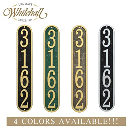 f7ead4b14a211 Personalized Cast Metal Vertical Address Plaque. Four Colors Available!  Custom House Number Sign.