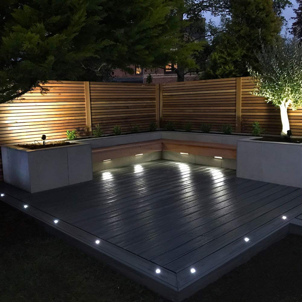 Outdoor Ultra Bright Set of 8-20mm Dia LED Round Walk Over Polycarbonate Plastic Bathroom IP67 Waterproof Wall Recessed Ground Plinth Deck Light Garden Kitchen Cool White 6500K