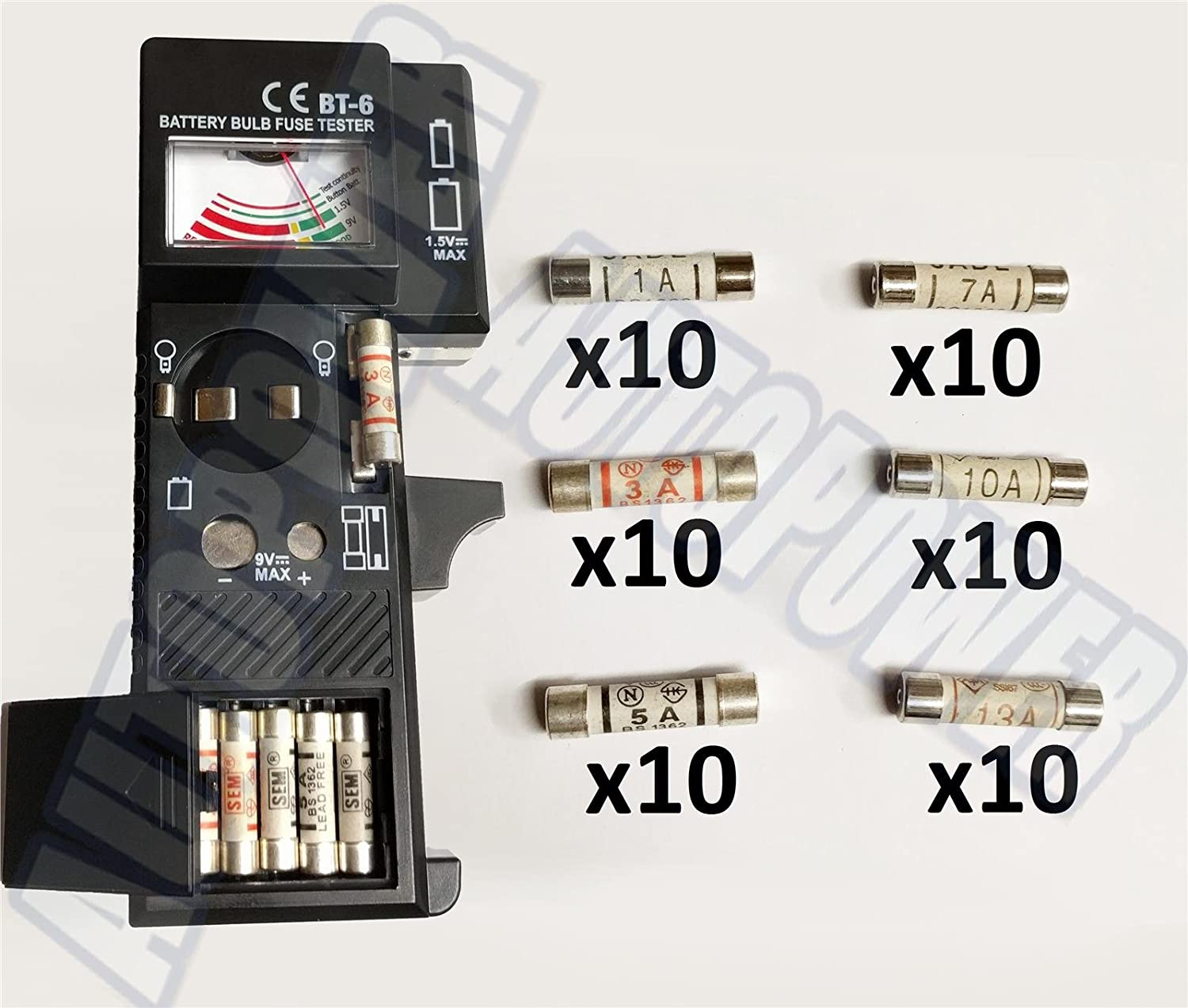 60x Domestic Fuses Household Mains Cartridge Mix 10x Each Amp Pack /& Tester