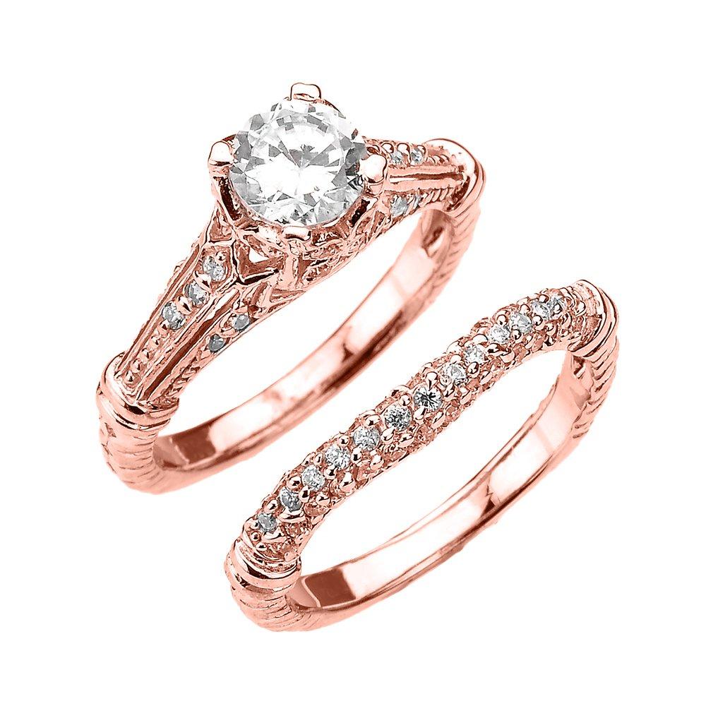 Fine 10k Rose Gold 2 Carat Total Art Deco Engagement Wedding Ring Set (Size 7)