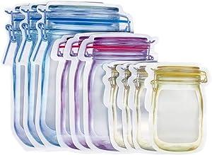 Reusable Jar Shape Zipper Bag Plastic Bags Zip Lock Leakproof Food Saver Storage Bag Freezer Biscuit Snack Sandwich Ziplock Bags