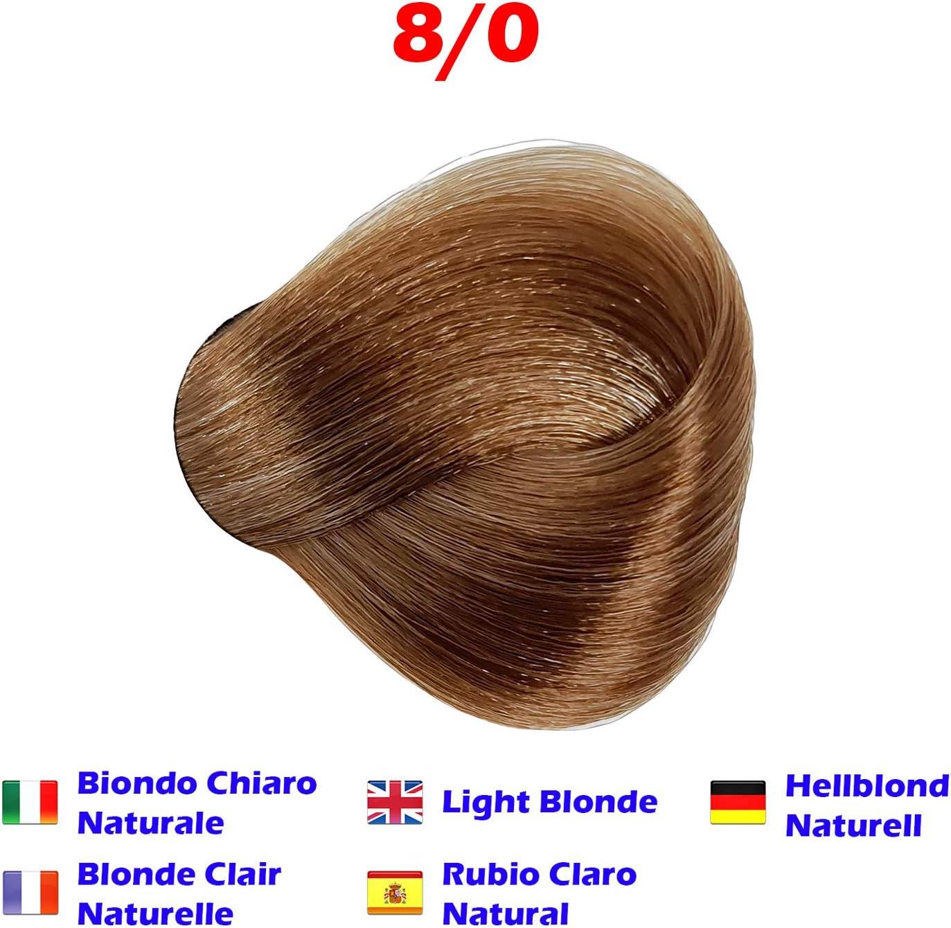 Tinte de Pelo Profesional Rubio Claro Natural con Amoníaco 8/0 Permanente 100ml Made in Italy
