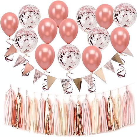 Paquete de 30 globos de confeti de oro rosa para decoración de bodas, 15 unidades de