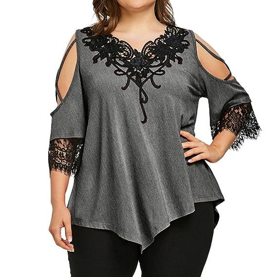 Camisetas Mujer Tallas Grandes,Gran tamaño de Encaje Camiseta con Hombros Descubiertos Blusa