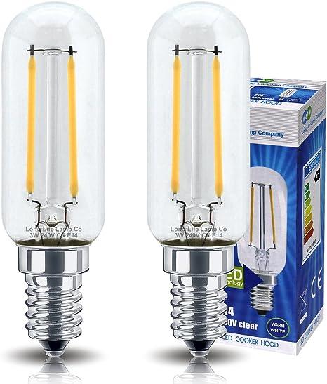 2 bombillas LED de 3 W para campana de cocina, E14, rosca Edison pequeña, equivalentes a 35 W, luz blanca cálida, luz tubular de larga duración.: Amazon.es: Iluminación