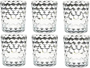 8 Oz 6-Piece Premium Unbreakable Drinking Glasses Plastic Tumblers Dishwasher Safe BPA Free Small Acrylic Juice Glasses for Kids Plastic Water Glasses (8 Oz 6 Pieces Clear)