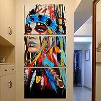 Pittura a olio misteriosa della celebrità della minoranza tela donna Painting Home Wall Decorazioni(3pc/set)