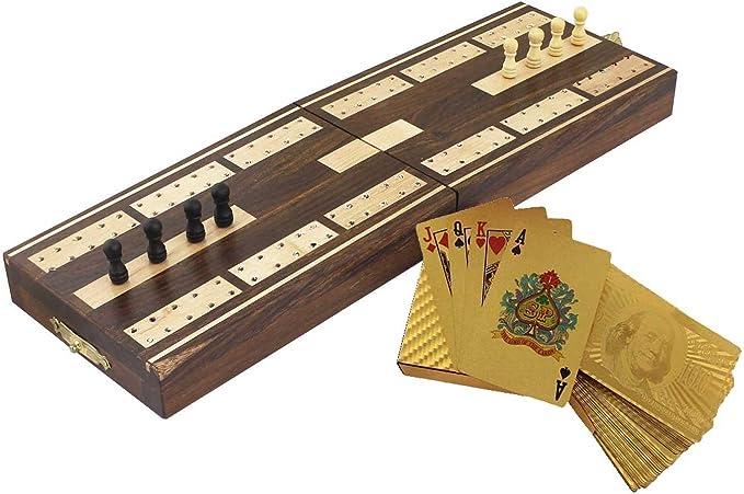 Tabla de madera juego - tableros de cribbage y tarjetas de juego del dólar de oro chapado en la cubierta - 12.9 x 4.0 cm 8.1x: Amazon.es: Juguetes y juegos