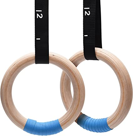 Elite Wooden Gymnastics Rings for Crossfit and Gym Fitness Training