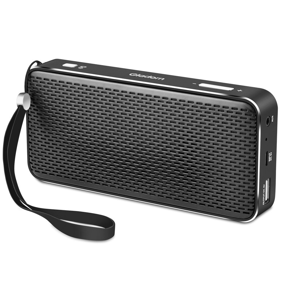 Gladorn Bluetooth Speaker Pocket Size Portable Wireless Speakers Subwoofer Loud Stereo Sound Enhanced Bass Long Playtime with Built-in Mic USB AUX Rechargeable Battery Power Bank (Black) by Gladorn