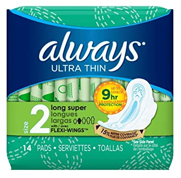 Amazon.com : Always Pads Size 2 Ultra Thin 14 Count Long Super (3 Pack) : Beauty