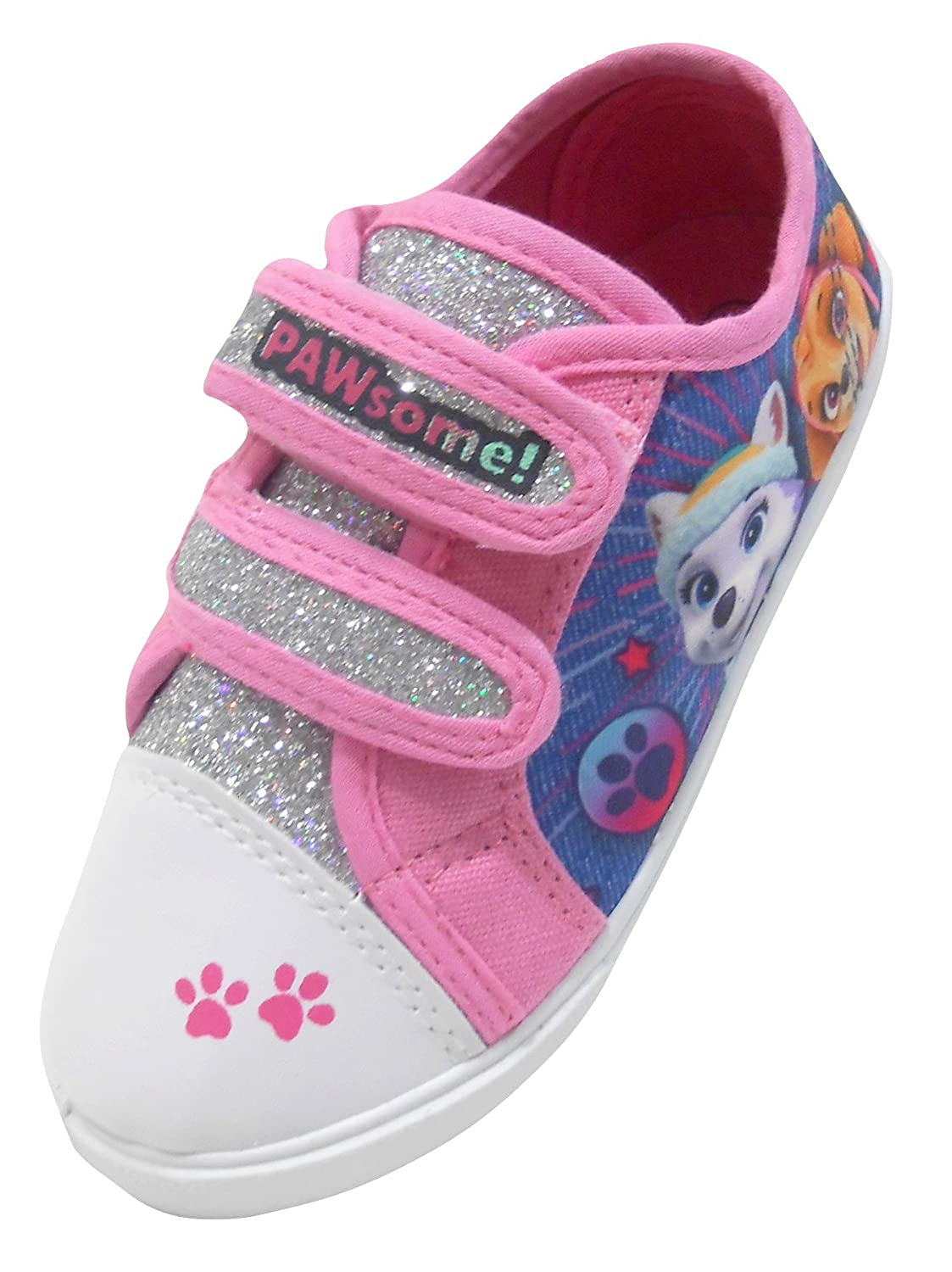 Paw Patrol Pink with Silver Glitter Hook and Loop Trainers UK Sizes 5-10