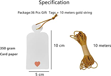 Parxara Gift Tags Price Tags for Valentines Day Wedding Favor Blank with Rose Foil Gold Lovely Heart 50 PCS White Large DIY Label Tags for Baby Shower Birthday with 32.8ft Gold Twine String