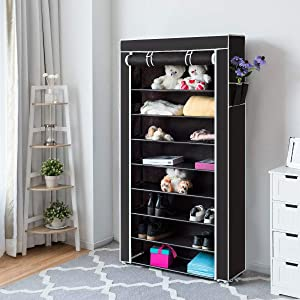 Tangkula 10 Tiers Shoes Racks with Dustproof Cover, Free Standing Shoes Storage Racks, 27 Pairs Shoe Organizer, Shoes Rack Tower Zippered Storage Shoes Cabinet, Ideal for Hallway Entryway (Black)