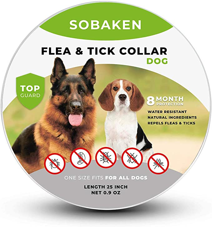 SOBAKEN_Flea_and_Tick_Prevention_for_Dogs,_Natural_and_Hypoallergenic_Flea_and_Tick_Collar_for_Dogs,_One_Size_Fits_All,_25_inch,_8_Month_Protection,_Charity