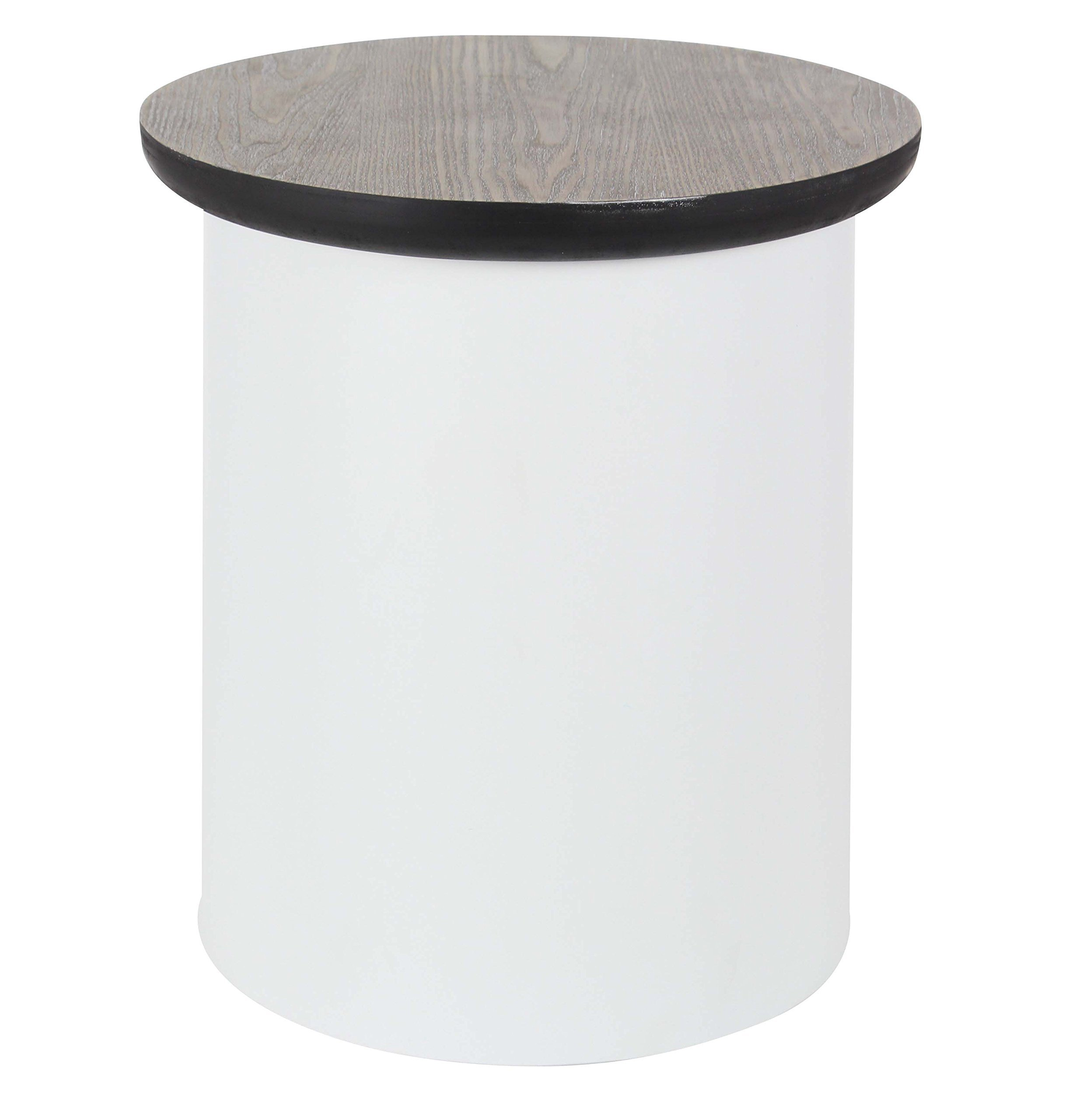 Deco 79 Metal and Wood Table, 20'' x 17'', Black/White