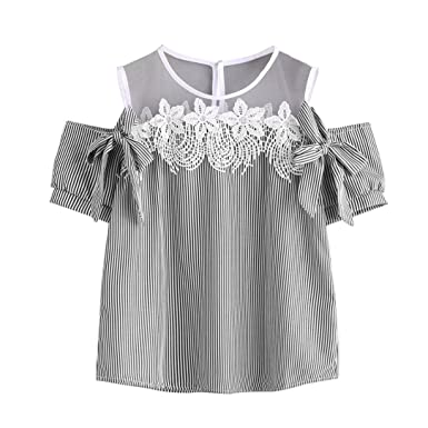 DondPO Women Short Sleeve Off Shoulder Lace Floral Striped Blouse Casual Tops T-Shirt (