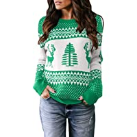 Sidefeel Women Knited Holiday Pullover Christmas Cute Reindeer Sweater