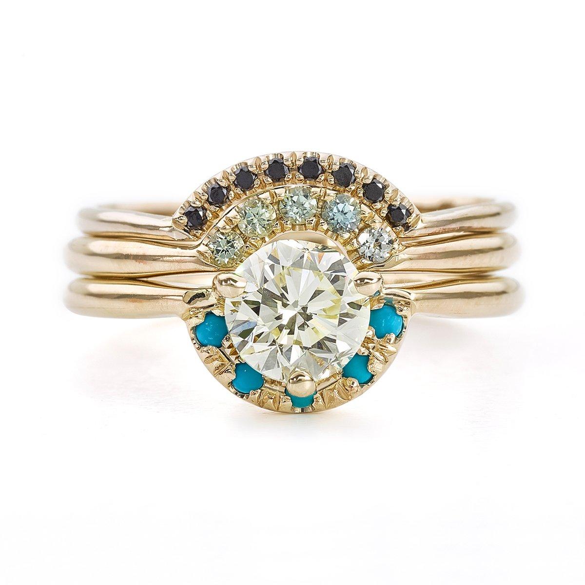 1dad11872cab4 Amazon.com: Boho Wedding Ring Set, Teal Sapphire Ring, One Carat ...