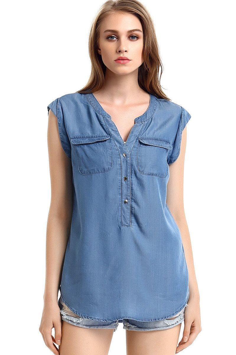 49a05ccf8a6a Escalier Women's Denim Shirt Chambray Tencel V-Neck Jean Shirt ...