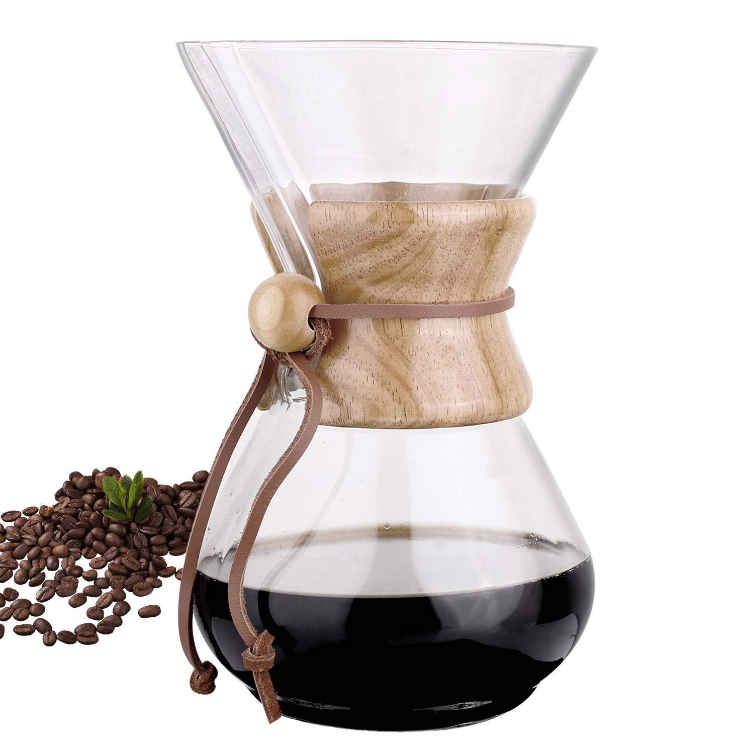 Phyismor Classic Pour Over Coffee Maker Carafe - 1100ml/37oz, Coffee Dripper Brewer Pot, with Borosilicate Glass, for Manual Home Made Drip Coffee by Phyismor