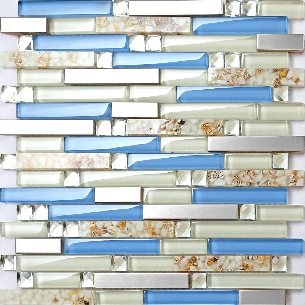 TST Glass Inner Conch Tile Beach Style Blue Cream White Brushed ...