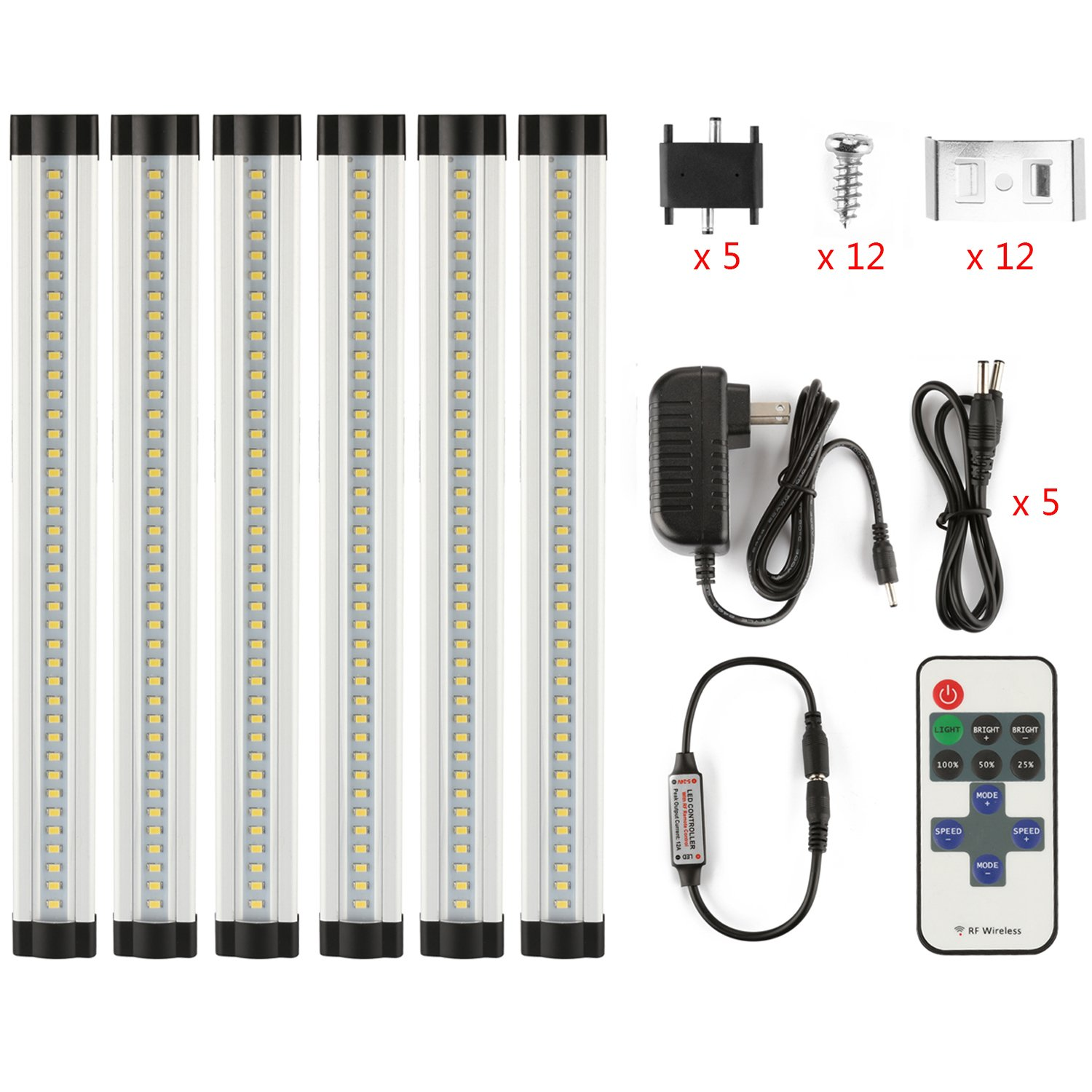 LXG-LED 12in Dimmable LED Under Cabinet Lighting, 18W 5000K Daylight 1600LM, Clear Cover Led Strips,11key Remote Control,6Pack