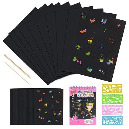 Scratch Art,JBSON 50 Hojas Dibujo Scratch Láminas para Rascar Creativas Papel para Dibujar con