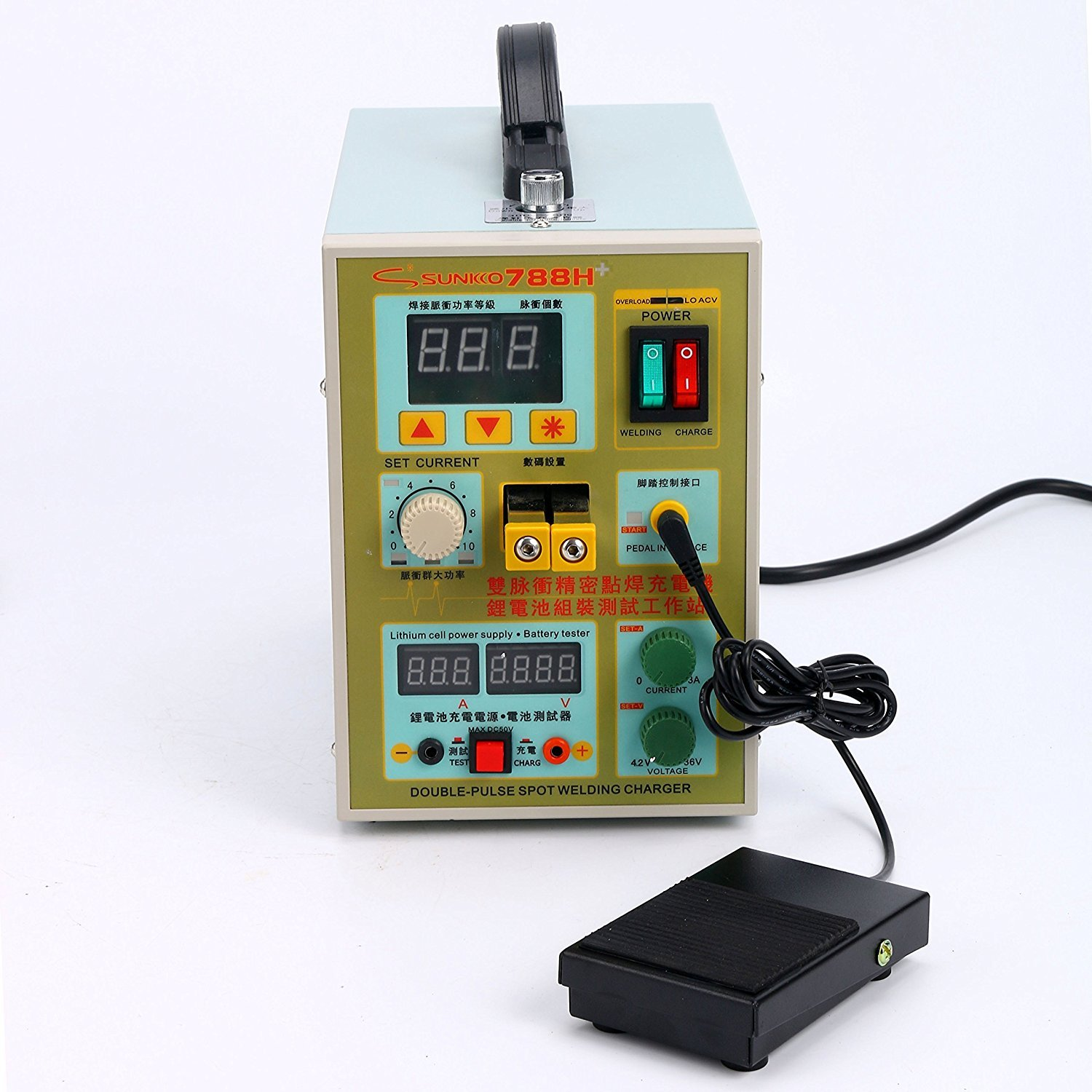 Sunkko 788H LED Dual Pulse Spot Welder 18650 Battery Charger 800 A 0.1 - 0.2 mm 36V 60A by SUNKKO