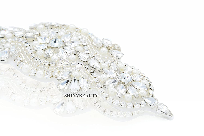 Aplique de diamantes de imitación para traje de novia ShinyBeauty (RA002), Silver Ribbon, 16.0cmx5.5...