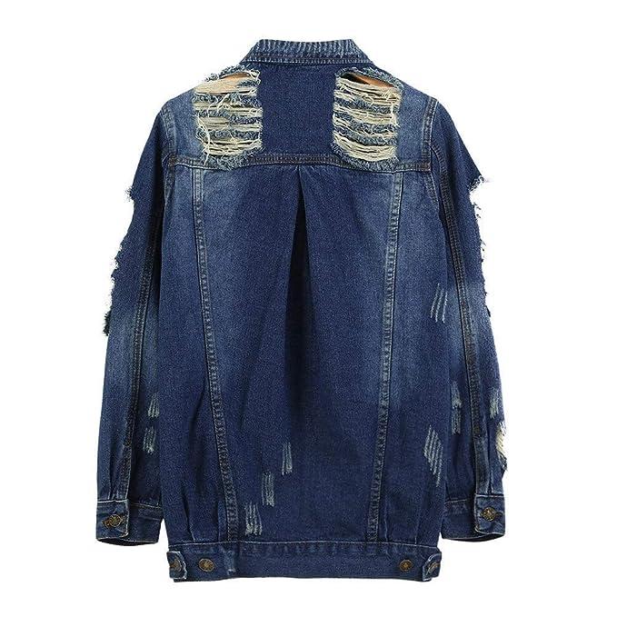 FuweiEncore Chaqueta de Mezclilla para Mujer descolorida Abrigo Desgastado Desgastado y Desgastado de Fitt (Color : Azul Oscuro 2, tamaño : L): Amazon.es: ...