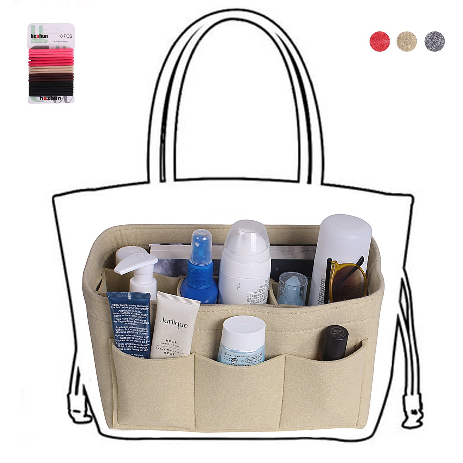 Felt fabric bag in bag purse organizer insert for handbags/tote (Large, Beige) by Meeeno (Image #4)