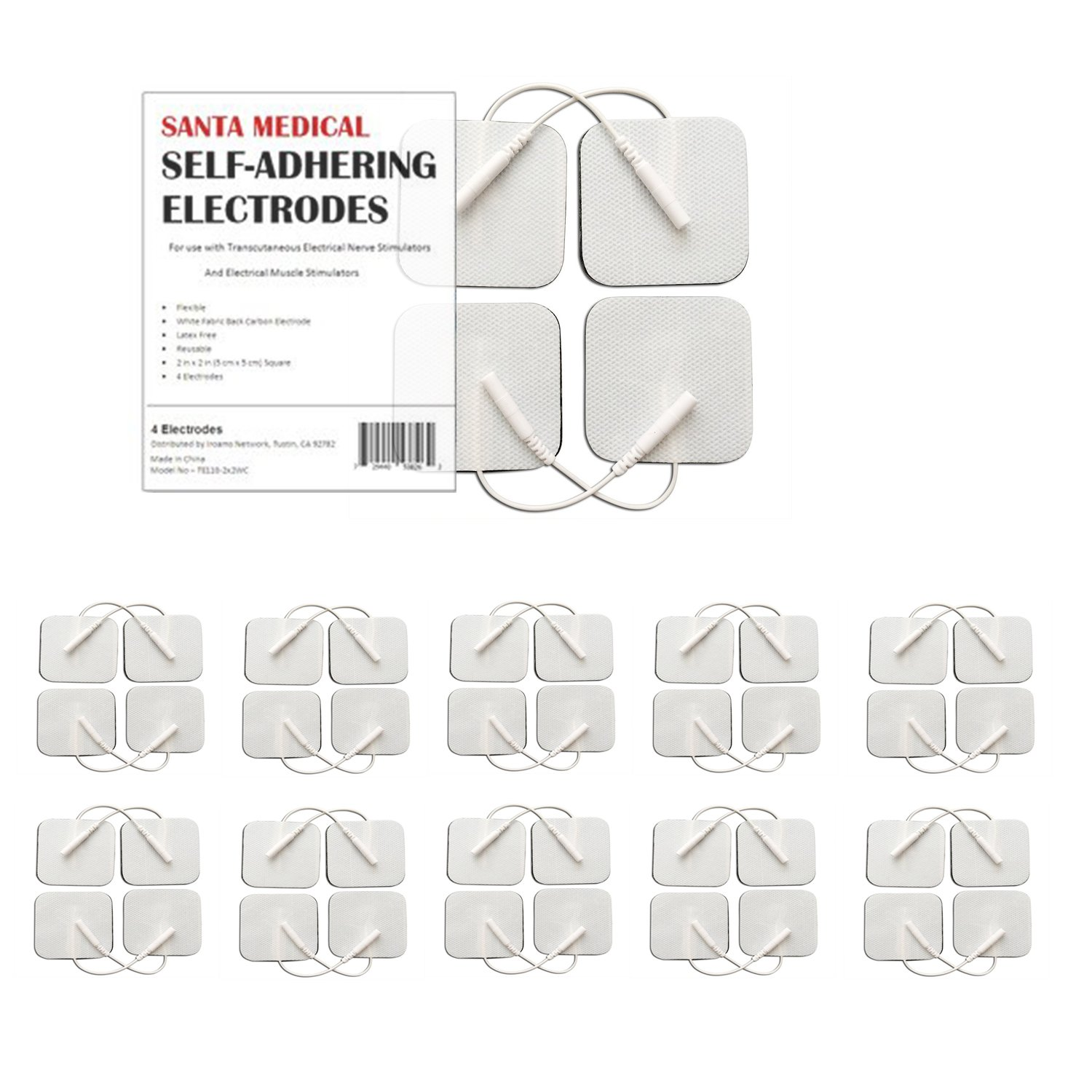 """Santamedical 40 pack of 2"""" X 2"""" Re-Usable TENS/EMS Unit Electrode Pads with Premium Gel (White Cloth)"""