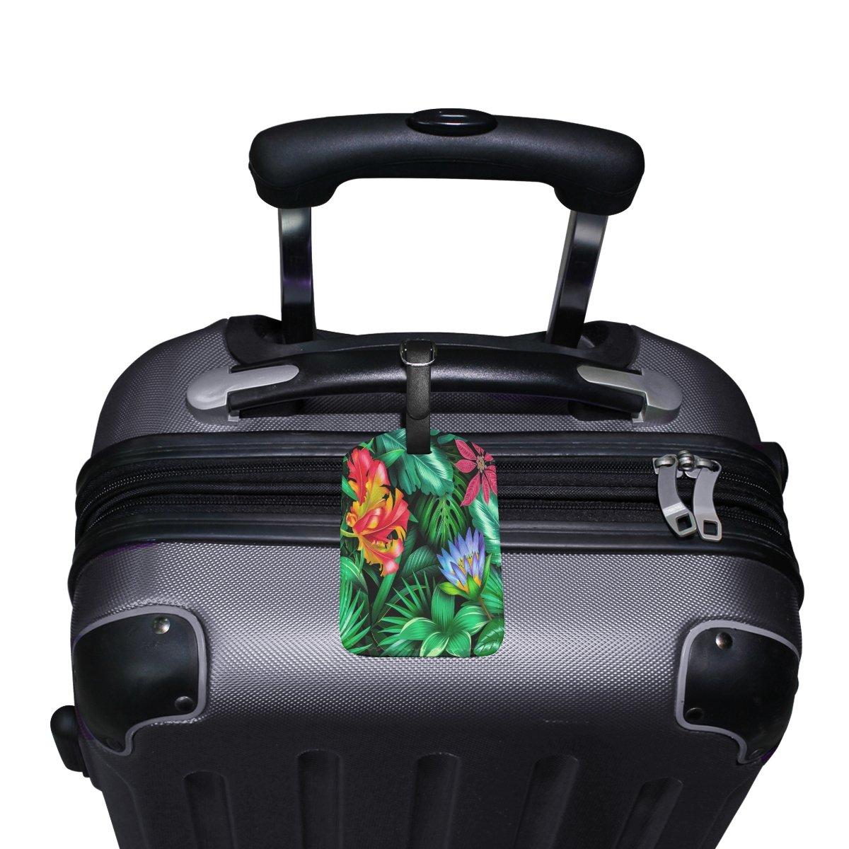 1Pcs Saobao Travel Luggage Tag Flowers Plant PU Leather Baggage Suitcase Travel ID Bag Tag