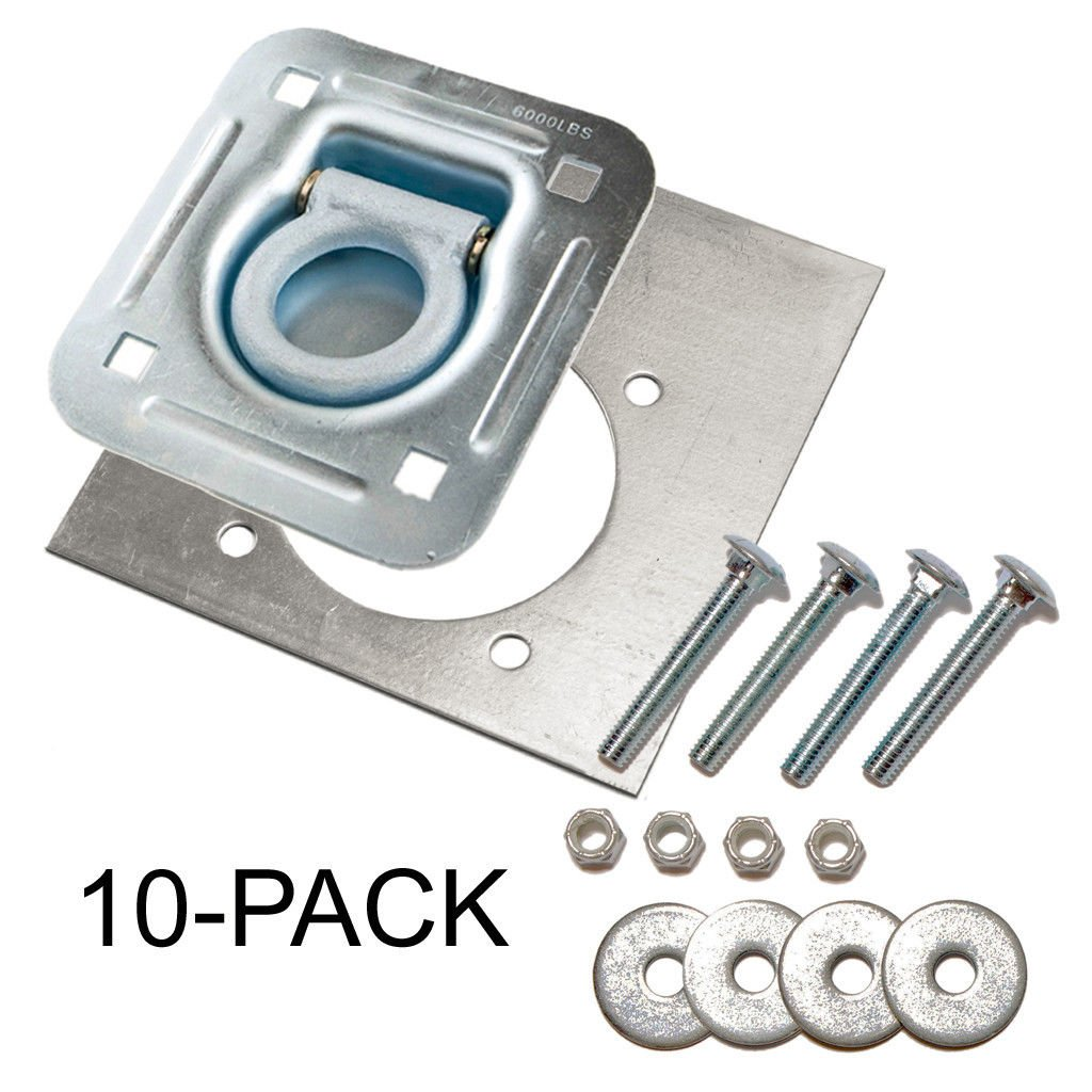 D-Ring Recessed 6,000 lb. Tie Down and Backing Plate w/2-1/2 Hardware 10-pack
