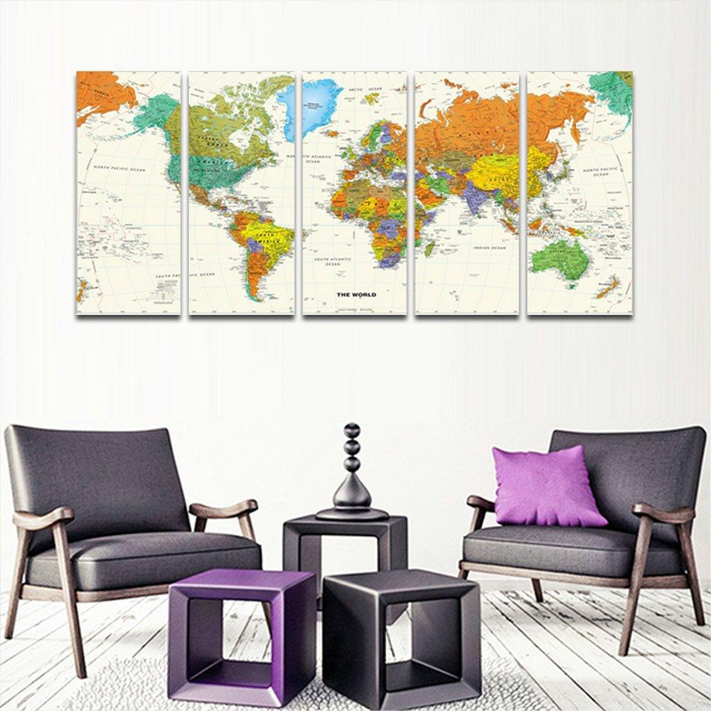 CyioArt - 5 Panels Weltkarte große moderne gestreckt und gerahmte ...