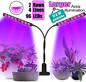 Grow Lights for Indoor Plants-Plant Lights for Indoor Plants-Flysight Indoor Plant Grow Light Clip On, 50W 96 LED UV Plant Light Desk Grow Light Lamps with Timer for House Plants,Succulents,Bonsai
