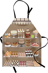 Ambesonne Dessert Apron, Illustration of Bakery Shop Window Displaying Apple Pies Milkshakes Cakes, Unisex Kitchen Bib with Adjustable Neck for Cooking Gardening, Adult Size, Taupe Beige