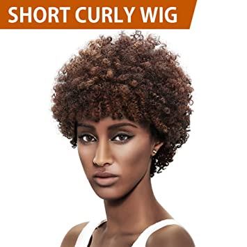 FASHION IDOL Afro 5\' Short Curly Wig Human
