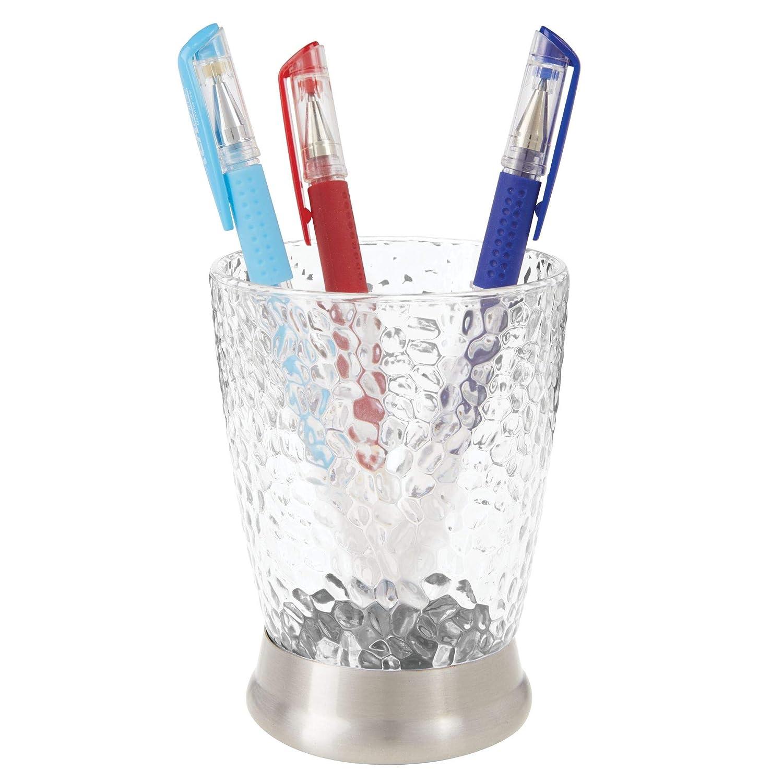 mDesign Juego de 2 porta cepillos decorativos en plástico - Vaso para cepillos de dientes y accesorios de baño con dibujo - Para cepillos, maquinillas o ...