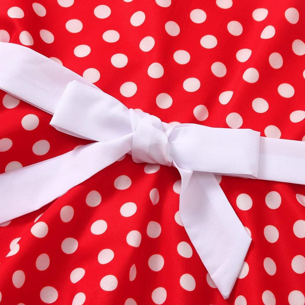 wuayi  M/ädchen Kurzarm Taille Kleid Polka Dot Princess Kleider Kleideroutfits 2-12 Jahre