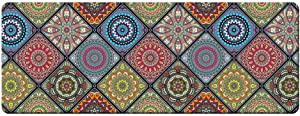 "QIYI Floor Comfort Mat 1 Piece Kitchen Rug PVC Leather Waterproof Oil Proof Runner Rug Non Skid Laundry Standing Mat Anti Fatigue Foam Cushioned Doormat 17"" W x 47"" L - Ethnic Traditional Pattern"