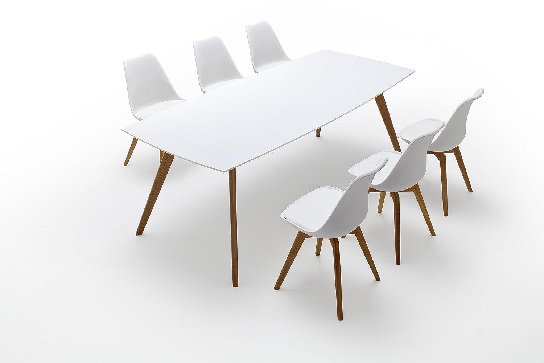 Gut TENZO 2182 001 Bess   Designer Esstisch, Weiß, Tischplatte MDF Lackiert,  Matt, Untergestell Eiche Massiv, 75 X 220 X 95 Cm (HxBxT): Amazon.de: Küche  U0026 ...