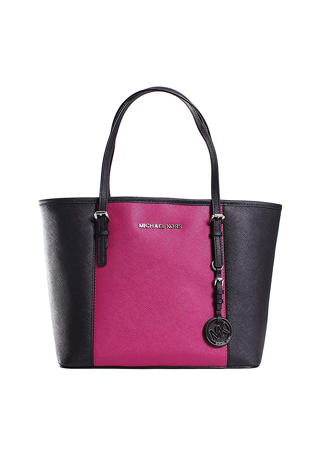 1ede849f547b Amazon.com  MICHAEL Michael Kors Center Stripe Jet Set Small Travel Tote in  Black Deep Pink  Shoes
