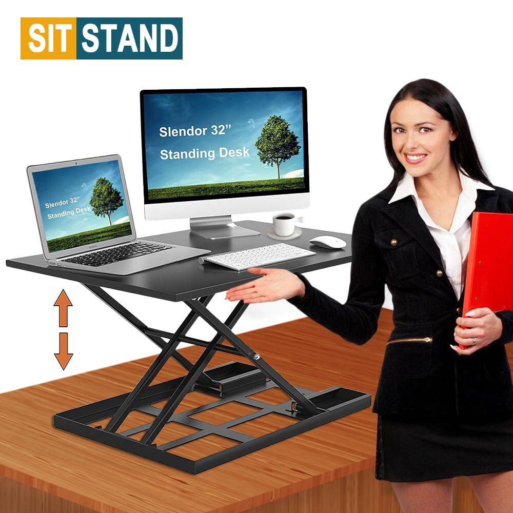 Standing Desk Stand Up Desks Height Adjustable 32 inch Sit Stand Converter Dual Monitor Ergonomic Air Riser Laptop Stands Large Rising Desktop Computer Table Workstation Foldable Extender Home Office by Slendor